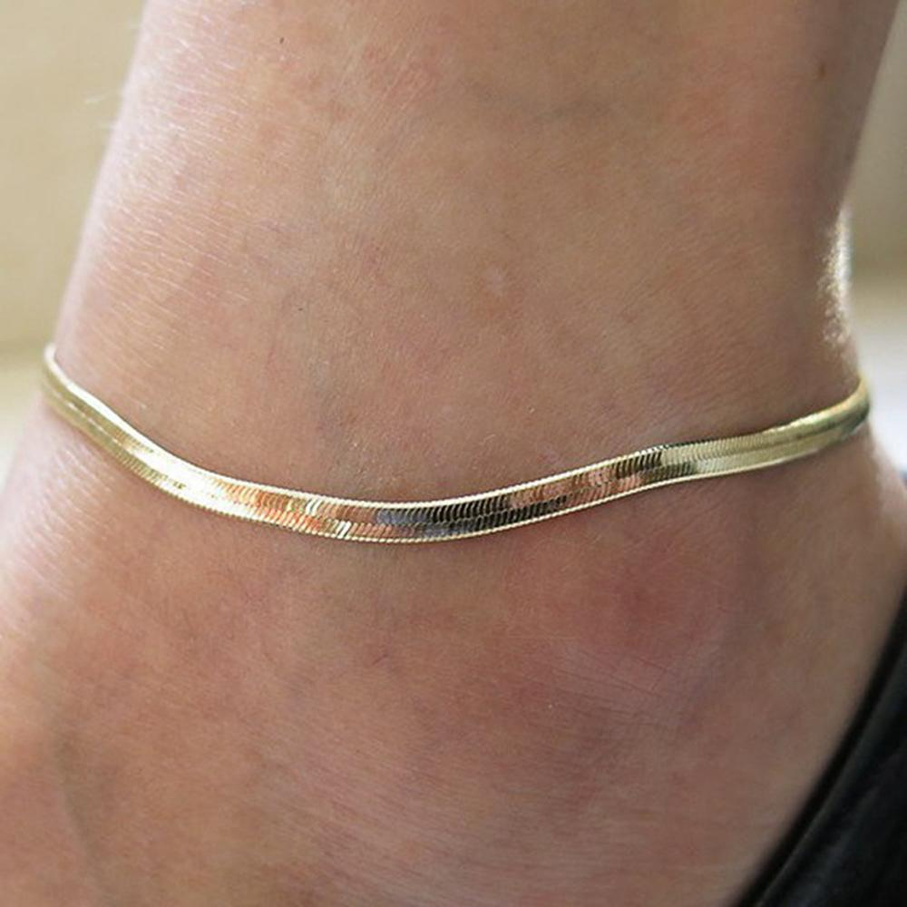 FAMSHIN 2016 New Fashion Accessories Jewelry gold chain anklet Herringbone adjustable charm anklet ankle leg bracelet