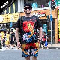 2018 Mens Sets Short 6XL Club Outfits Carp Printed Mens Clothing Chinese Style Shirts Luxury Top And Short Pants