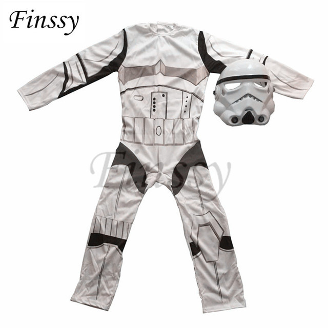 Star Wars Costume for Boys The Force Awakens Storm Troopers Cosplay Halloween Costume for Kids Carnival Party Dress with Mask 2