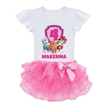 Kids Infant Girl Petals Dress bowknot Paw dog Patrol Toddler Elegant Dress Pageant Infantil Tulle Formal