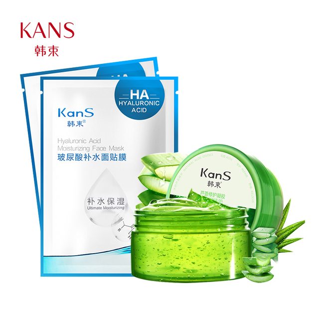 Kans aloe vera gel Cream anti sensirive dry skin remove acne moisturizing after sun repair face care Aloe cream 180g