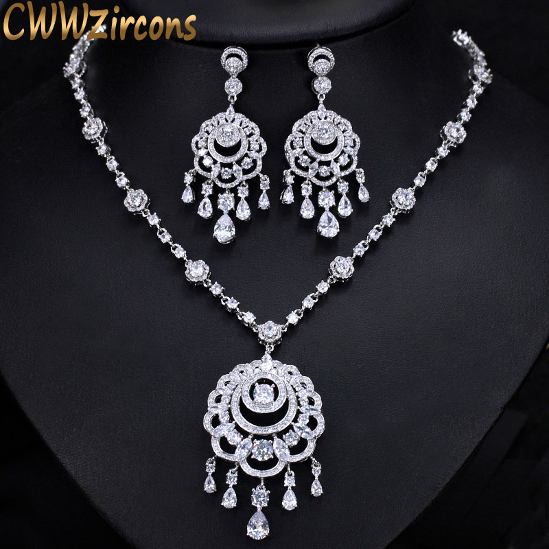 CWWZircons Luxury Bohemia Big Long Tassel Drop Necklace Earrings CZ Bridal Jewelry Sets For Women Wedding Party Costume T301 cwwzircons water drop royal blue cz necklace earrings ring and bracelet 4 piece wedding jewelry set for women bridal party t098