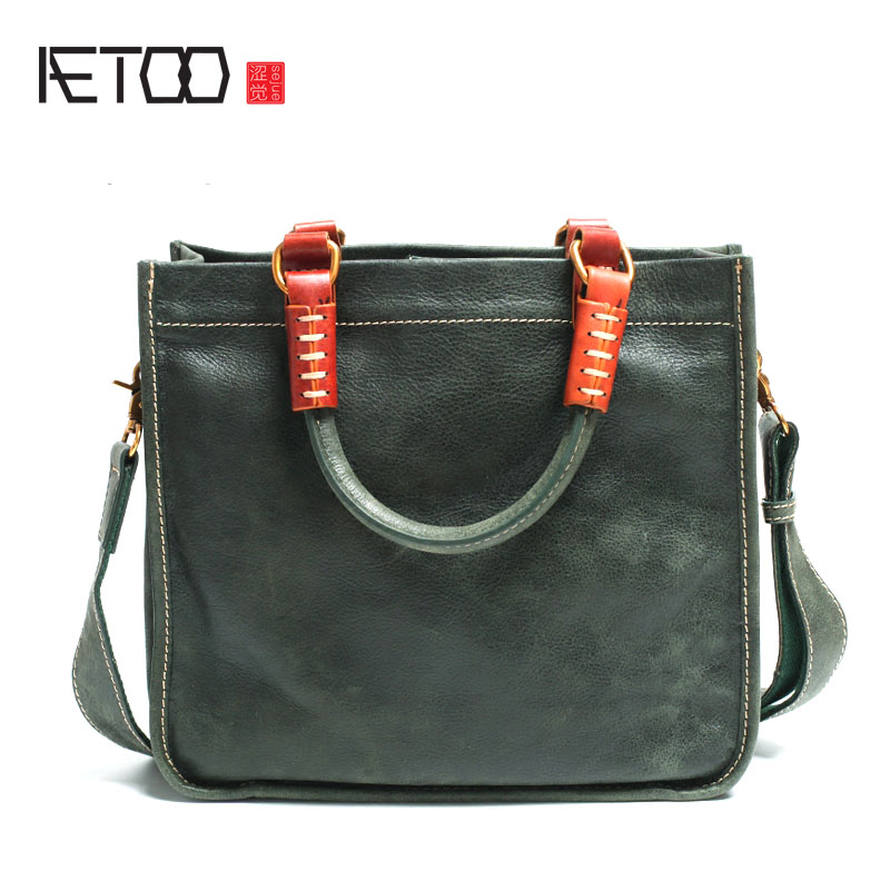 AETOO Leather Square Tote Bag Handmade Soft Leather Shoulder Diagonal Bag Simple Literary Retro Handbag Briefcase square pu tote bag