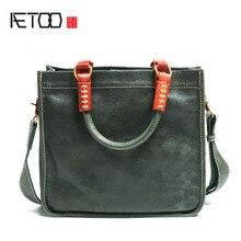 AETOO Leather Square Tote Bag Handmade Soft Shoulder Diagonal Simple Literary Retro Handbag Briefcase