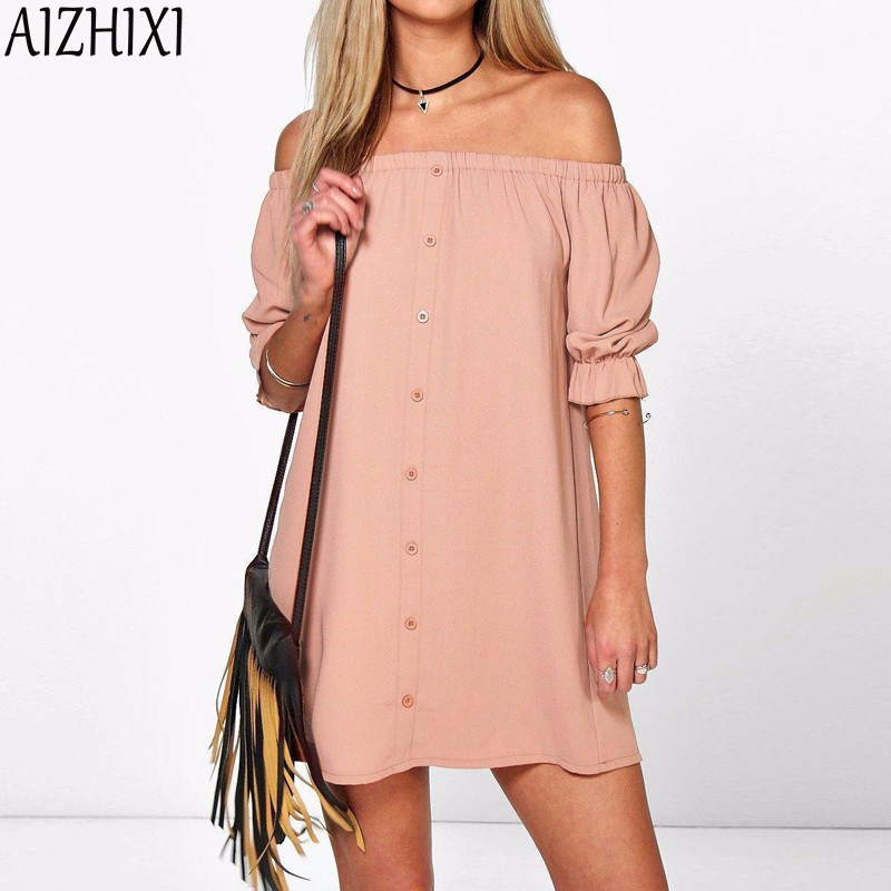 Aizhixi beach style fuera del hombro casual loose summer dress 2017 mujeres sexy