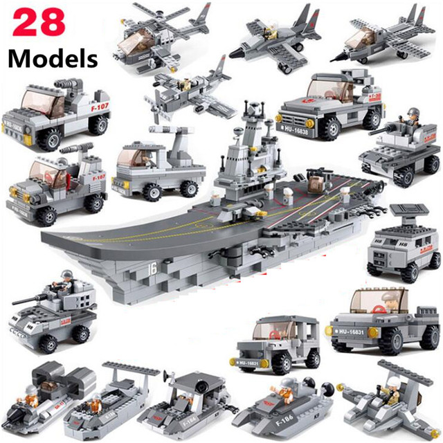 1001pcs Sea Air And Land Military Corps Technic Assembled Model Building Blocks Toys Kit DIY Educational Birthday Gifts