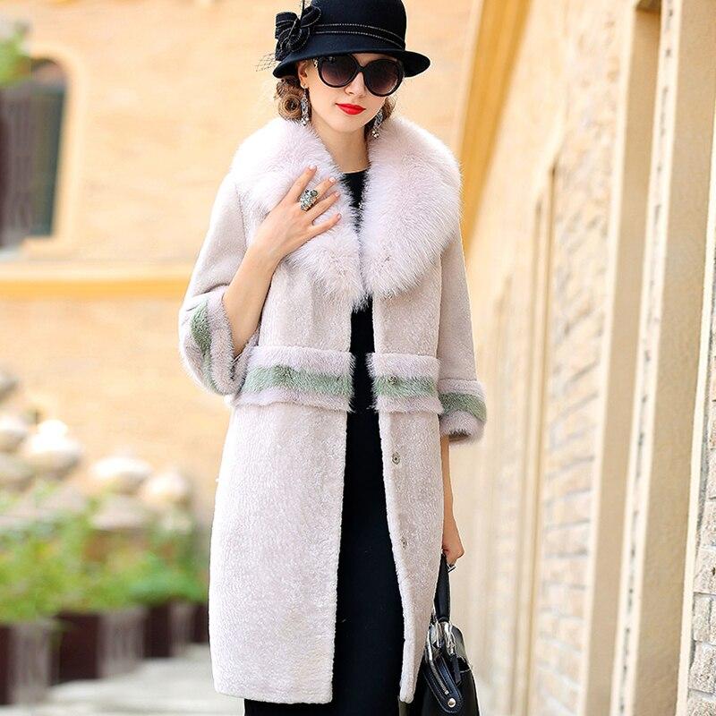 LVCHI Musim Dingin perempuan Mantel Bulu Nyata Kulit Hitam Putih Mink - Pakaian Wanita - Foto 3