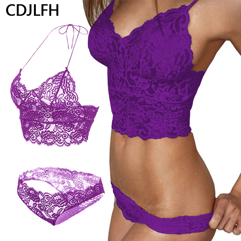 CDJLFH Sexy Wire Less Thin Lace 3/4 Cup Bra Set Push Up For Womens Breathable Comfortable Underwear Set Solid Color Lingerie Set