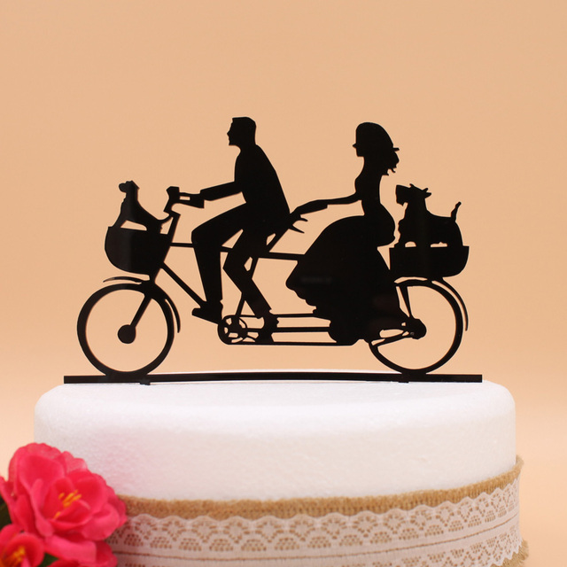 Free Shipping Acrylic Day Wedding Cake Topper Stand Tandem Bicycle