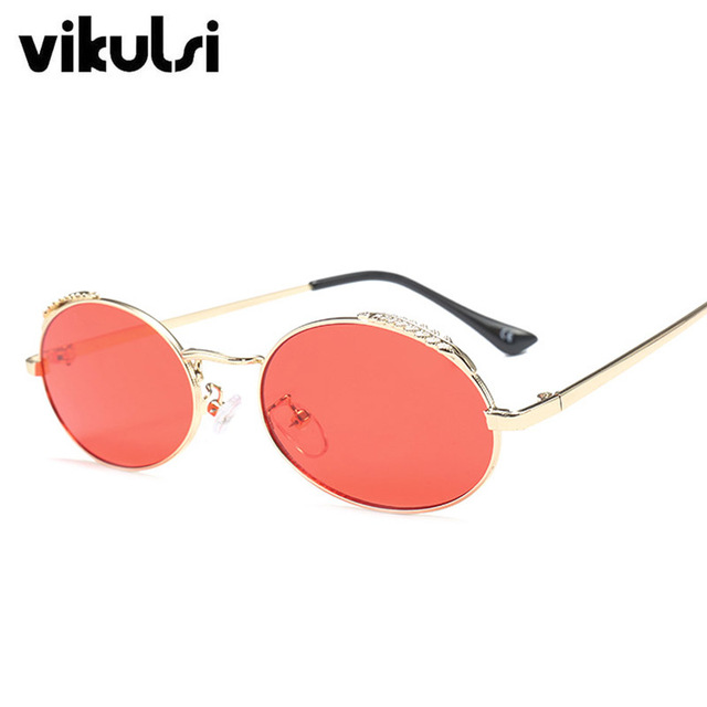 Small Red Lens Transparent Round Sun Glasses For Men Women Sunglasses Vintage Retro Oval Metal