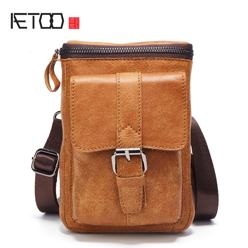 цена AETOO 2017 Genuine Leather Bags Men High Quality Messenger Bags Small Travel Dark Brown Crossbody Shoulder Bag For Men