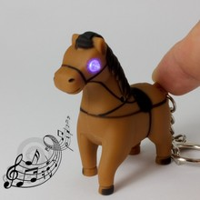 The new design swift horse LED luminous sound light key chain Creative gift pendant cartoon animals LED flashlight wholesale