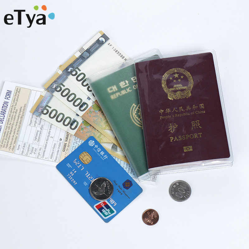 eTya Transparent Waterproof Dirt Passport Cover Holder Bag PVC ID Card Business Card Credit Holder Case Pouch цена