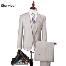 2016 Herren Anzug Blazers+Pants+Vest Prom Wedding Dress Suits Terno Bleiser Hombre Men's Casual Fashion Slim Fit Jackets Trouser