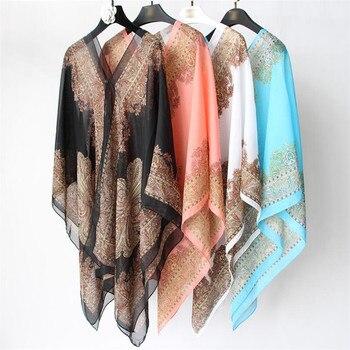 Boho Batwing Sleeve Chiffon Blouse Women Casual Floral Print Loose Kimono Shirts Big Size Beach Tunic Tops Peplum Blusa Robe 6