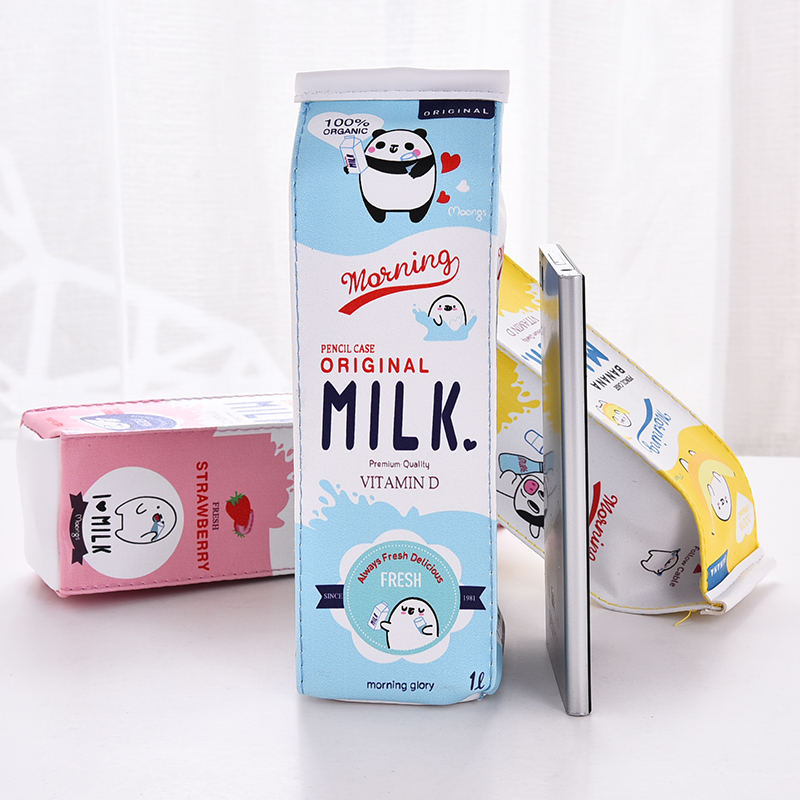 Cartoon Milk Bottle School Pencil Case Cute PU Pen Bag Storage Pouch Korea Stationery Material Office School Supplies Escolar