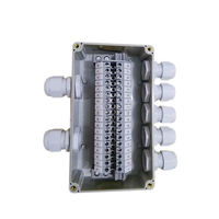 IP65 Waterproof Cable Wiring Junction Box  2 In 5 Out 160*90*60mm with UK2.5B Din Rail Terminal Blocks