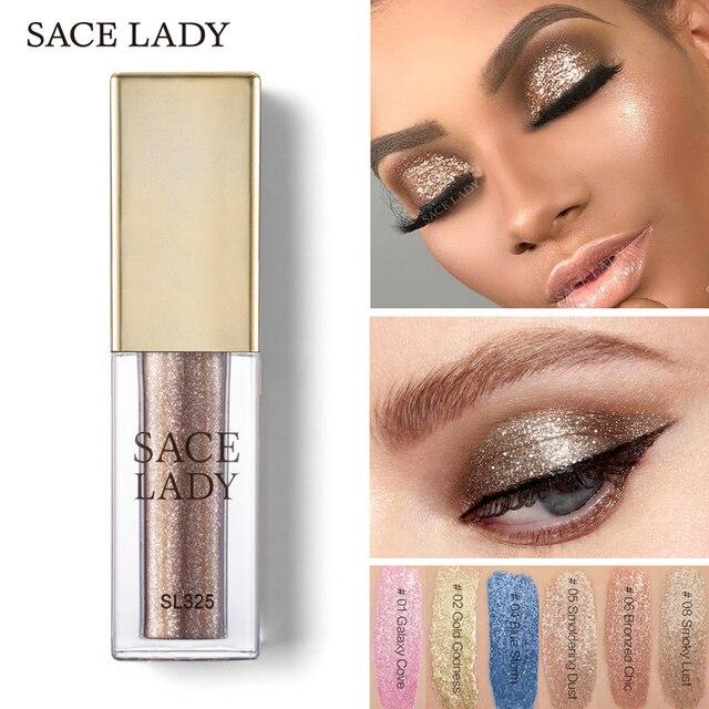 SACE LADY Glitter Eyeshadow Makeup Illuminator Glow Kit Shimmer Shadow Make  Up Liquid Eye Shadow Metals Highlighter Cream 7c7954787be1