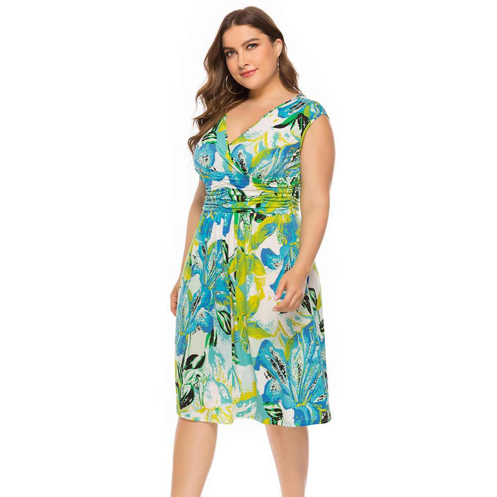 Wipalo размера плюс летнее праздничное платье с принтом женское Новое Цветочное платье длиной до колена пляжное праздничное зеленое платье 6XL