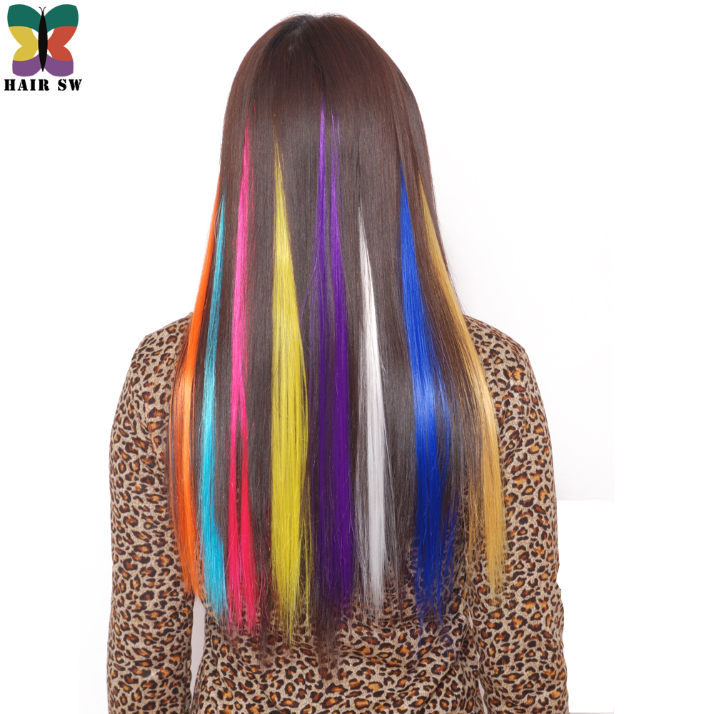 """HAIR SW Colored Highlight Synthetic Hair Extensions Clip In One Piece Color Strips 20"""" long Straight hairpiece for sports fans"""