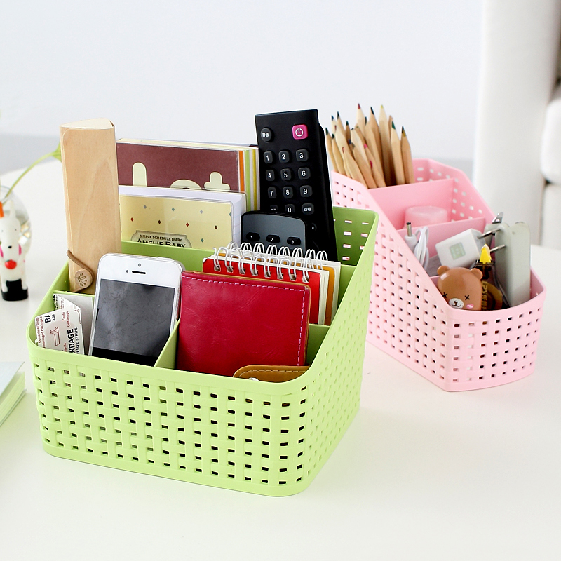 LC Imitation rattan multi-compartment Creative cosmetics storage box , desktop remote control debris classification storage box