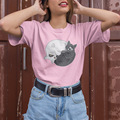 Футболка Tai Chi Cat женская  летняя повседневная футболка из 100% хлопка с коротким рукавом и о-вырезом