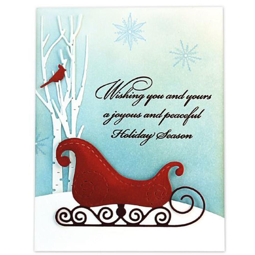 Metal Cutting Dies Christmas Sleigh Crafts Stencil DIY Scrapbooking Paper Cards