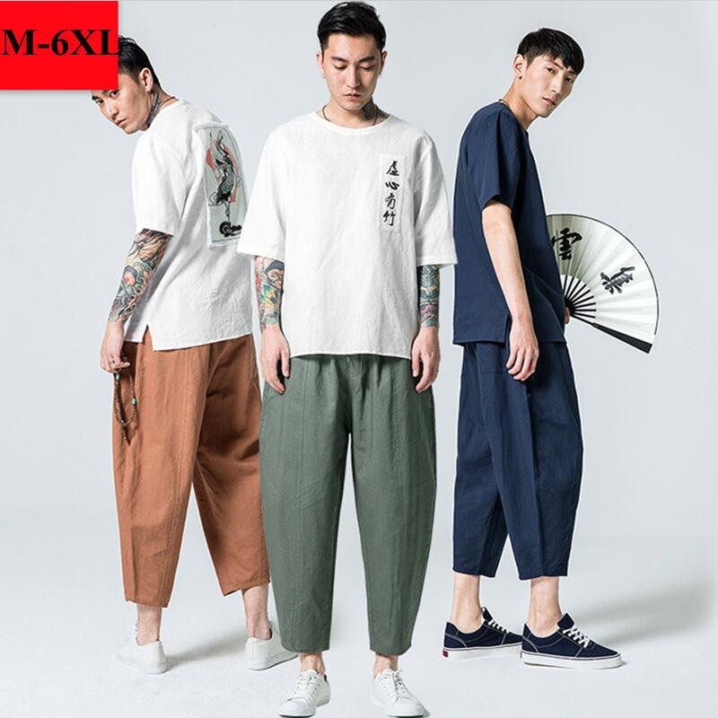 2019 Summer Linen  Super Ventilate Men Casual Wear Pants Comfort M- 6XL
