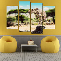 2017 Unframed Cuadros Decoracion 4 Panels Ferocious Leopard Picture Canvas Painting Modern Wall Art Home Decor