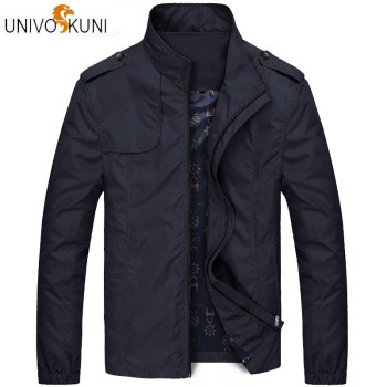 UNIVOS KUNI 2018 Autumn Men's  Casual Jacket Solid Color Fit Slim Outerwear Coat Korean Windbreaker Jacket Plus Size M-4XL Q5203