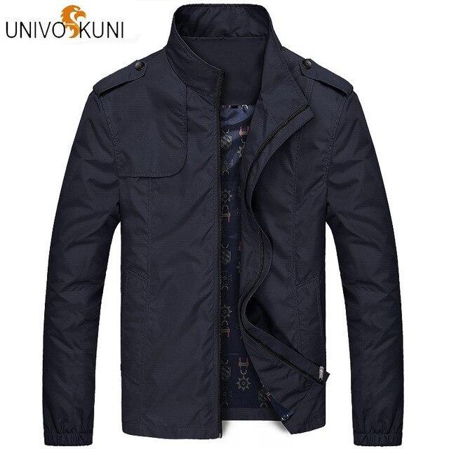 UNIVOS KUNI 2018 Autumn Men's  Casual Jacket Solid Color Fit Slim Outerwear Coat Korean Windbreaker Jacket Plus Size M-4XL Q5203
