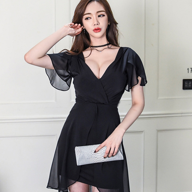 382594697299f Women s sexy Black Dresses V-neck formal dress Plus size dress For woman  Party suit for 100 KG girls XXL 4XL Size