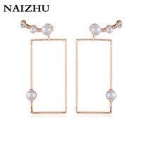 New Korea fashion Geometric stud earrings retro vintage Gold color imitation pearl earrings for women drop shipping