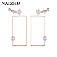 New Korea fashion Geometric stud earrings retro vintage Gold color imitation pearl earrings for women drop shipping