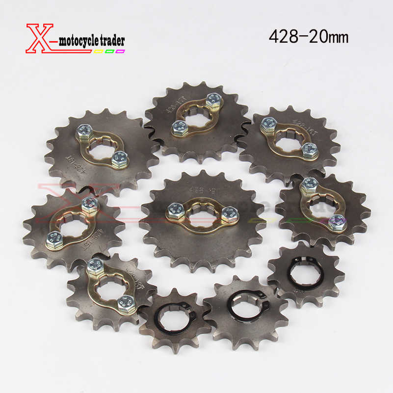 Dirt bike motorcycle scooter 428-20mm-10T/19T chain front sprocket gear hole Dia 20mm From 10 tooth to 19tooth