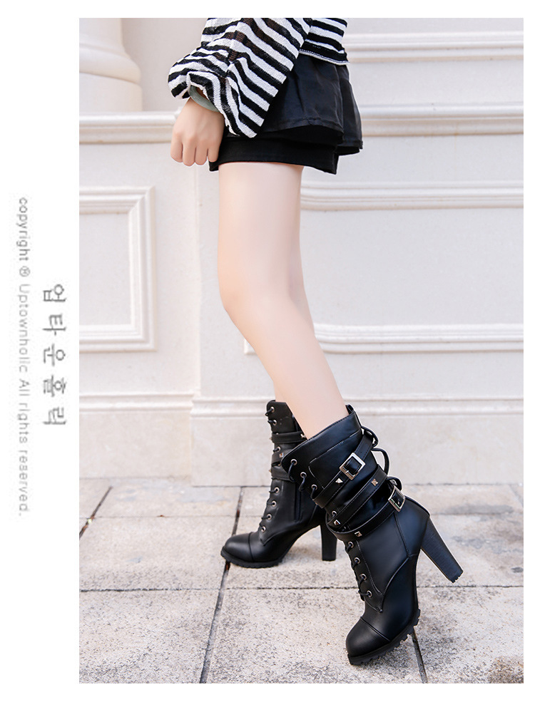 HUANQIU 2019 fashion ladies boots spring zipper rivet thick middle boots high heel Martin boots large size 43 women shoes ZLL675 10