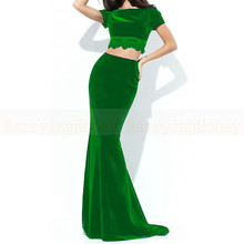 Zwei Stück Mermaid Kurzarm Prom Kleider Bordeaux Grün V zurück Schwarz Abendkleid Samt 2 Stück vestido festa longo 2017