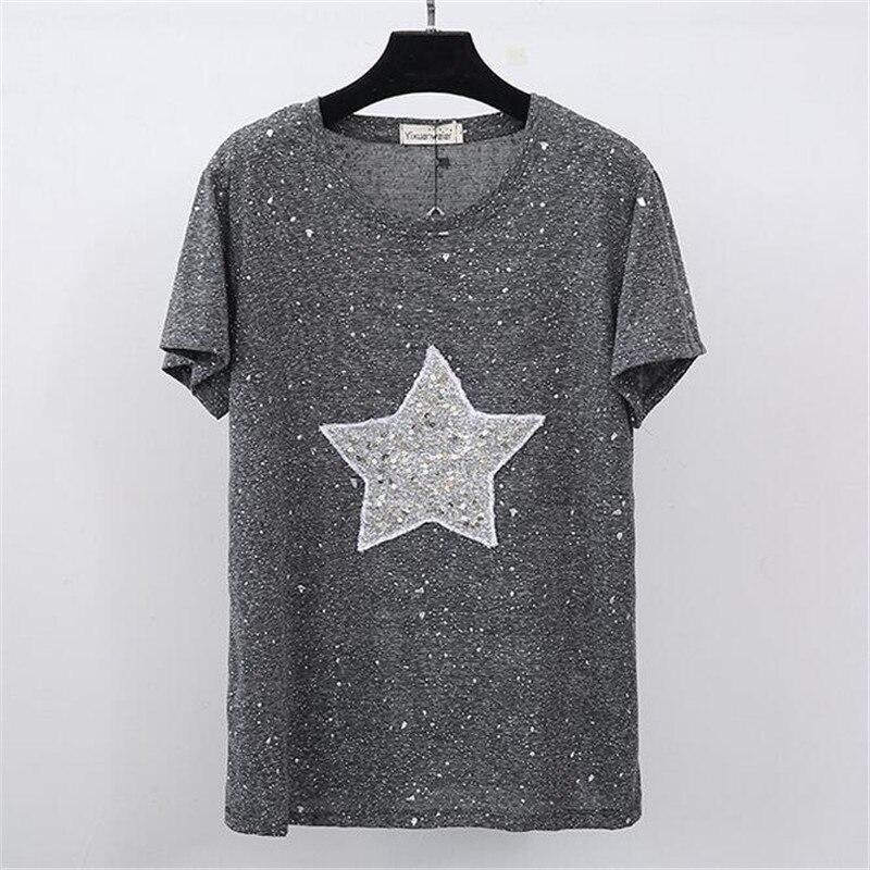 4XL Plus Size Women T shirt 2018 Summer Shiny Star Sequin Design Tops Short  Sleeve Loose Casual Cotton Femme Shirts Blusa 32729 1a2a23eda4e6