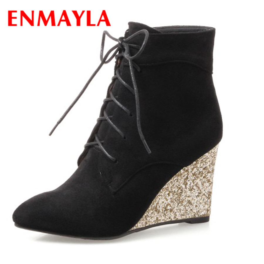 ENMAYLA New Wedges Lace Up Boots for Women Western Solid PU Shoes Pointed Toe Winter Plush Boots 34-43 Womens Dating Shoes pu serpentine lace up pointed toe womens flats