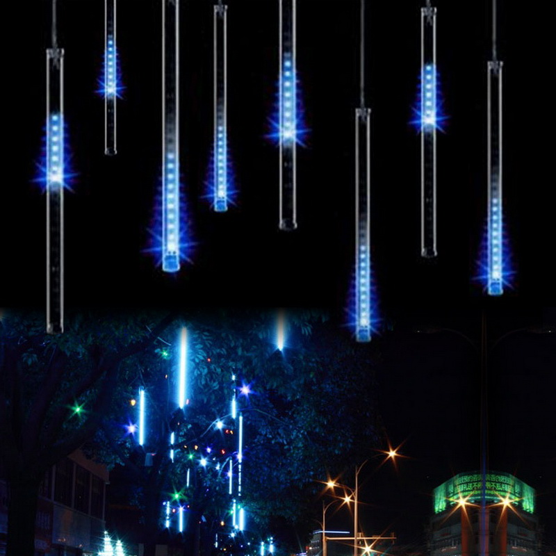 30CM* 8 Pieces Meteor Shower Rain Tubes LED Light For Christmas Wedding Garden Decoration 110V / US Plug Multicolor