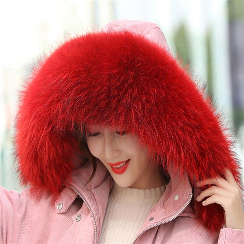 Autumn And Winter Womens 100% Natural Raccoon Dyeing Big Fur Collar Raccoon Fur Collar Muffler Scarf Cape Multi-color  Optional