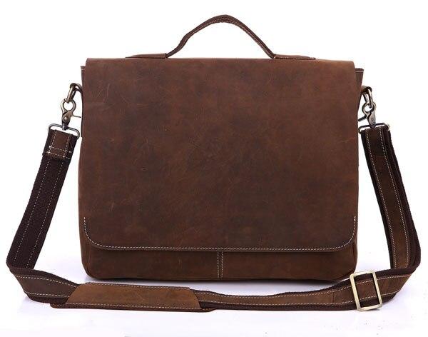 Vintage 100 Crazy Horse Genuine Leather Men Messenger Bags Cowhide Leather Men Briefcase Shoulder Bags 14