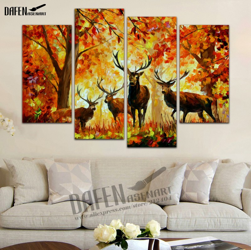 Canvas Painting 4 Panel Art Sunset Deer Painting Animal Picture Prints on for Living Room Home Decoration Wall Art framed image
