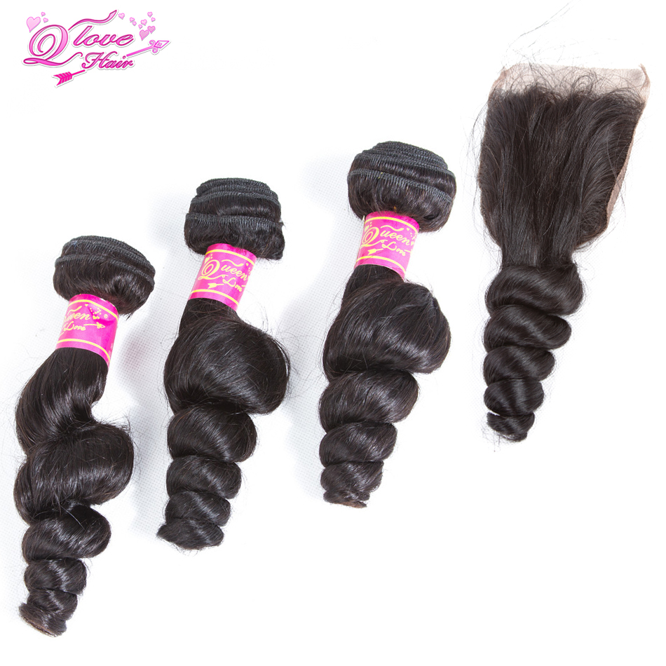 Queen Love Hair Pre-Colored Malaysia Loose Wave 3 Bundles With Lace Closure Human Hair Bundles With Closure 4Pcs Remy Hair