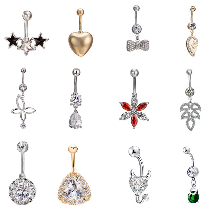 Fashion Mysterious Star Zircon Women Belly Button Piercing Simple Water Drop Shape Stainless Steel Lady Navel Button