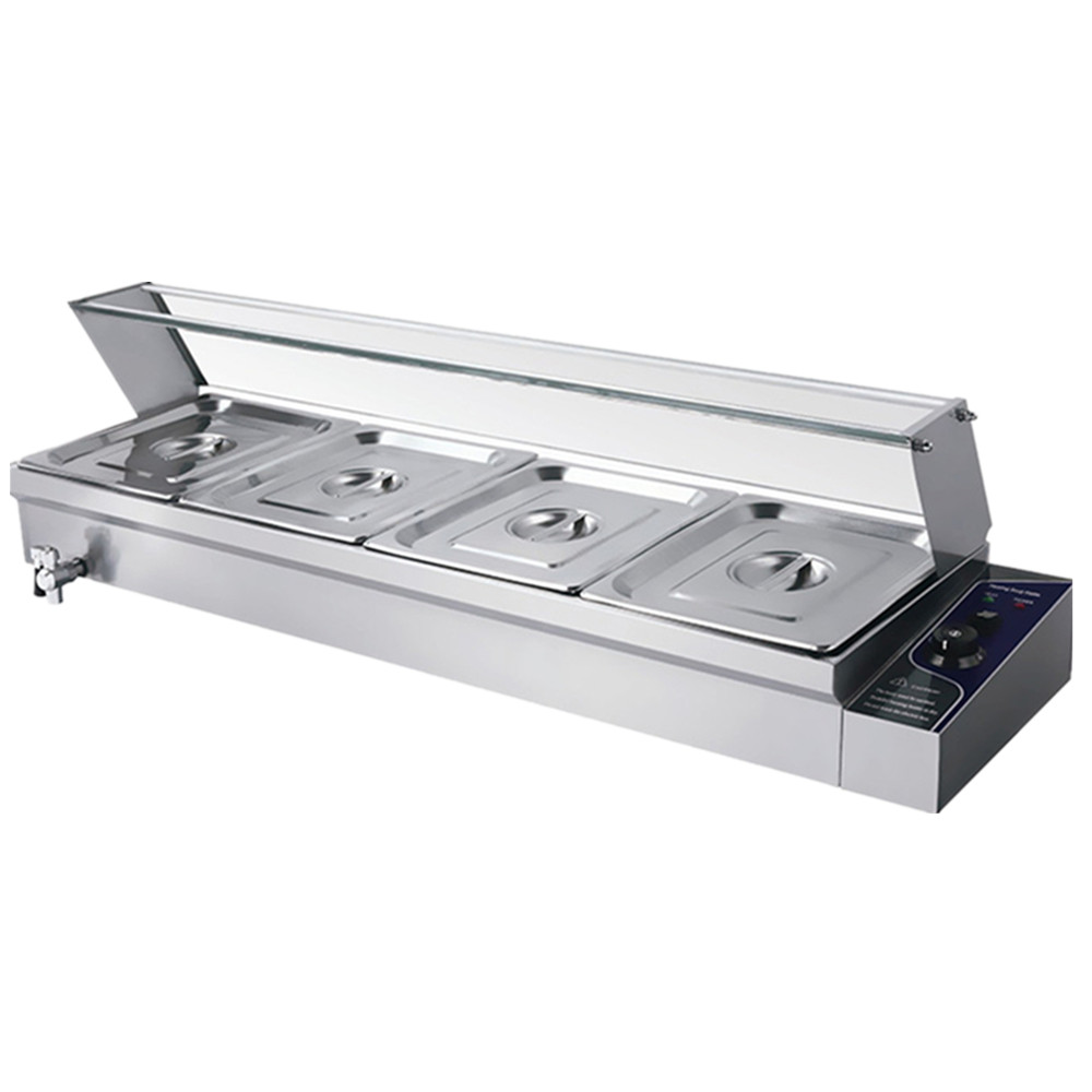 stainless steel electric bain marie food warmer with 4 pans for commercial kitchen with glass