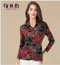 Real silk knit shirt big yards loose middle-aged women's clothing 100% mulberry silk flower long sleeve blouse