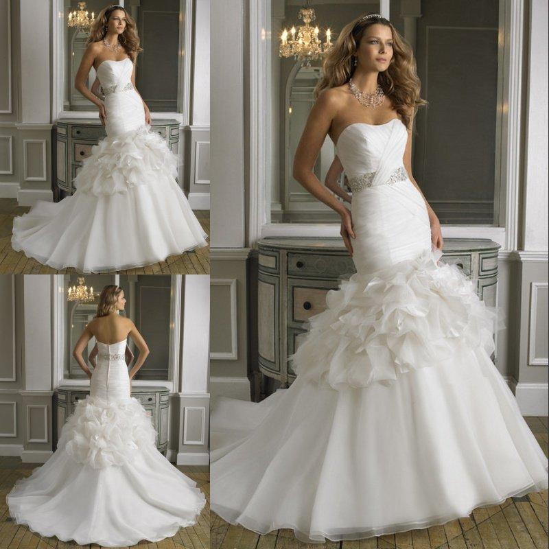Wholes Cost Fabulous Beaded Sweetheart Organza Mermaid Wedding Dress ...