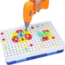 Klocki wiertarka elektryczna zabawka dla dzieci wczesna edukacja zabawka zmontowana mozaika puzzle gry udawaj zagraj w zabawki dla dzieci prezent