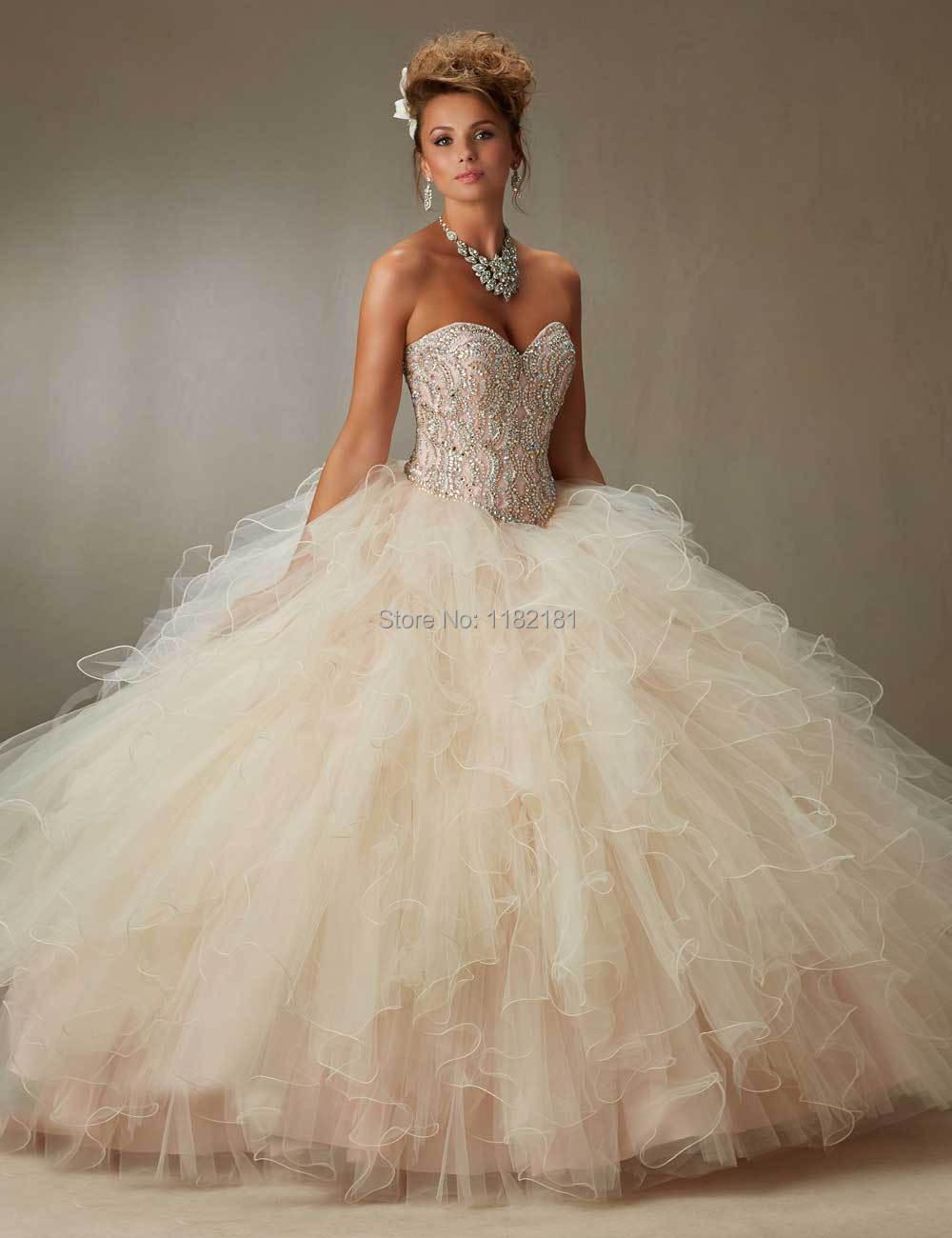 Coral Light Blue Ball Gown Quinceanera Dress Beaded Organza Girls ...